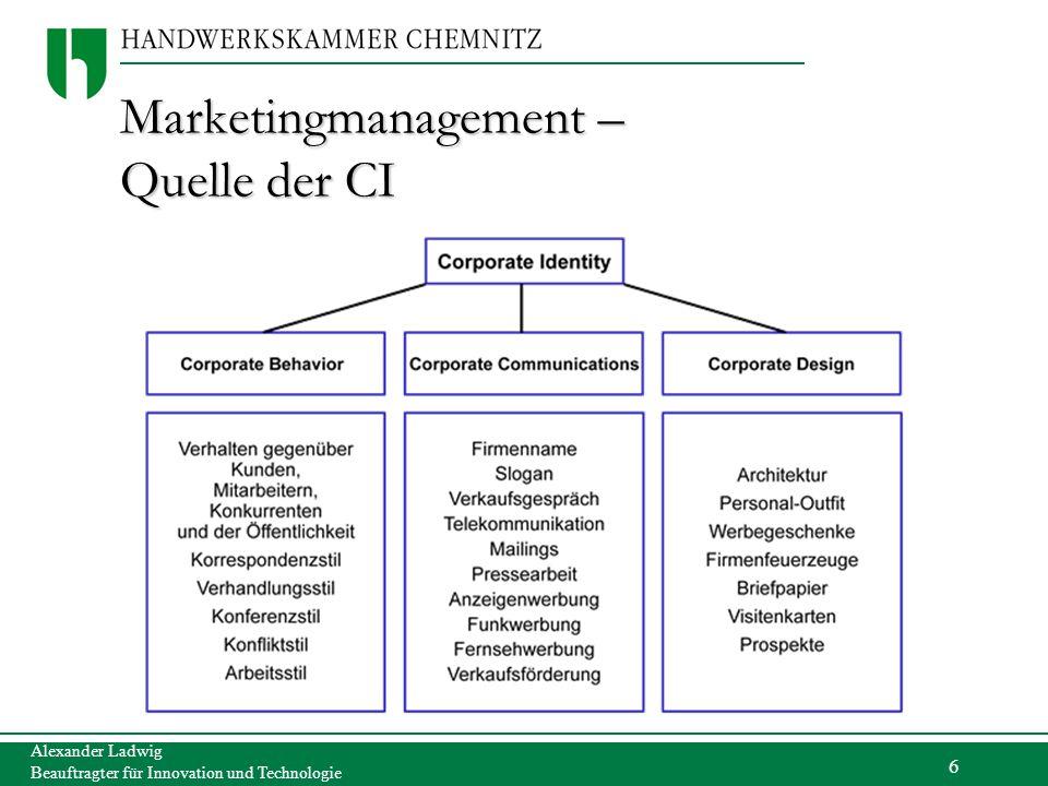 6 Alexander Ladwig Beauftragter für Innovation und Technologie Marketingmanagement – Quelle der CI