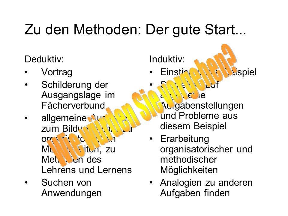 Zu den Methoden: Der gute Start... Deduktiv: Vortrag Schilderung der Ausgangslage im Fächerverbund allgemeine Aussagen zum Bildungsplan, zu organisato