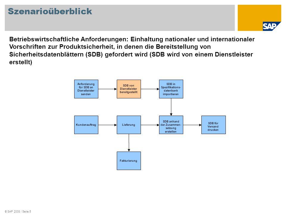 © SAP 2008 / Seite 5 Szenarioüberblick LieferungKundenauftrag SDB für Versand drucken SDB anhand der Zusammen- setzung erstellen Fakturierung SDB von Dienstleister bereitgestellt Anforderung für SDB an Dienstleister senden SDB in Spezifikations- datenbank importieren Betriebswirtschaftliche Anforderungen: Einhaltung nationaler und internationaler Vorschriften zur Produktsicherheit, in denen die Bereitstellung von Sicherheitsdatenblättern (SDB) gefordert wird (SDB wird von einem Dienstleister erstellt)