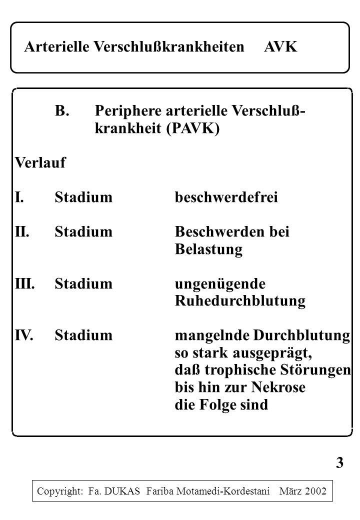 Arterielle VerschlußkrankheitenAVK B.Periphere arterielle Verschluß- krankheit (PAVK) Verlauf I.