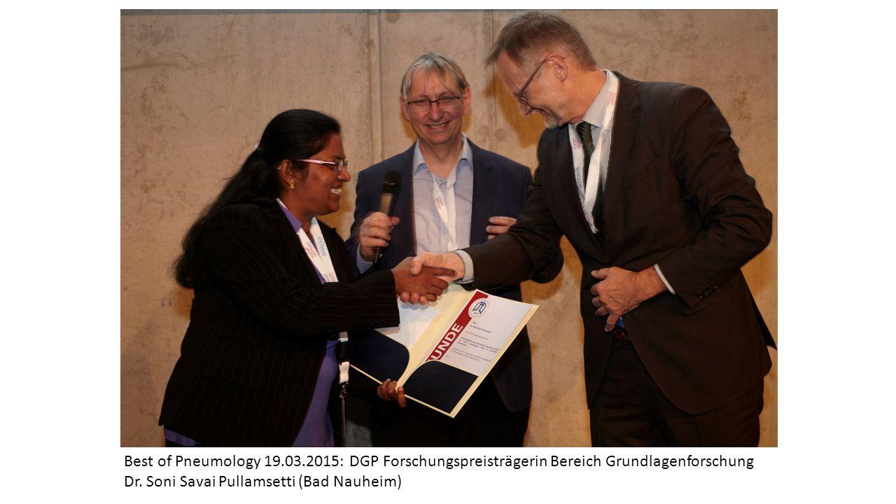 Best of Pneumology 19.03.2015: DGP Forschungspreisträgerin Bereich Grundlagenforschung Dr. Soni Savai Pullamsetti (Bad Nauheim)