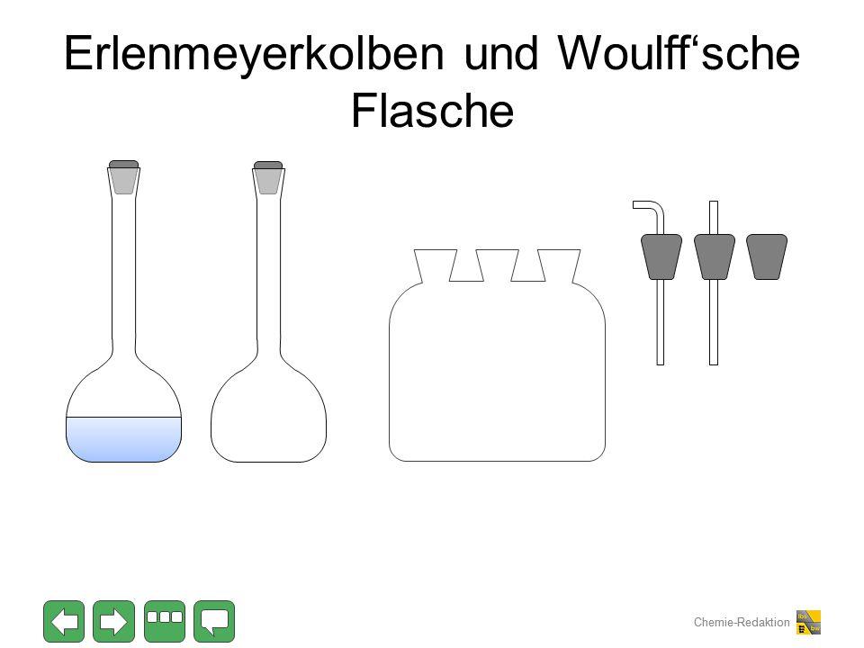 Chemie-Redaktion Erlenmeyerkolben und Woulff'sche Flasche