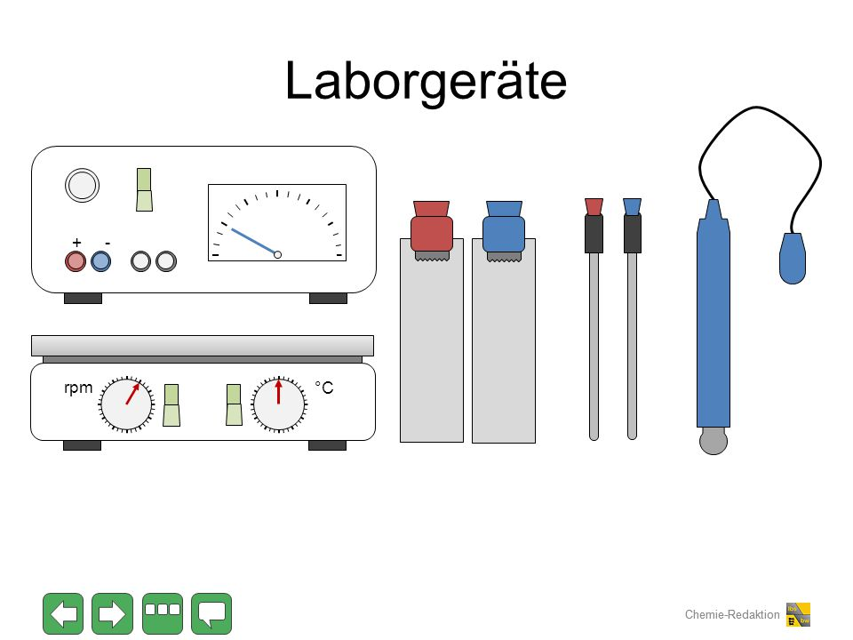 Chemie-Redaktion Laborgeräte °C rpm + -