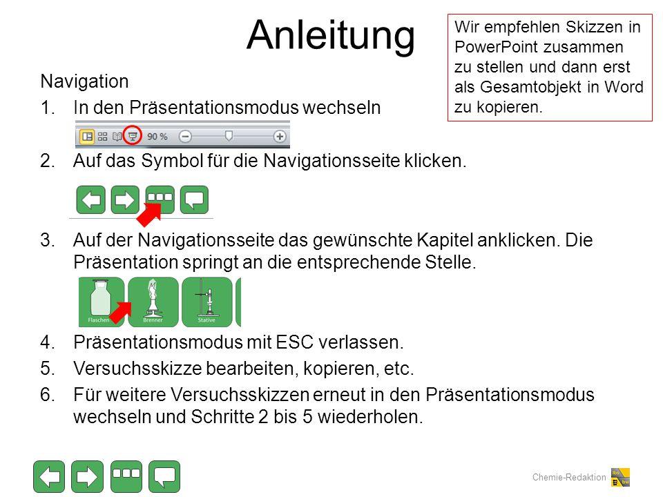 Chemie-Redaktion Anleitung Navigation 1.In den Präsentationsmodus wechseln 2.Auf das Symbol für die Navigationsseite klicken. 3.Auf der Navigationssei