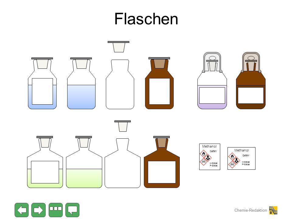 Chemie-Redaktion Flaschen Methanol Gefahr H-Sätze P-Sätze Methanol Gefahr H-Sätze P-Sätze