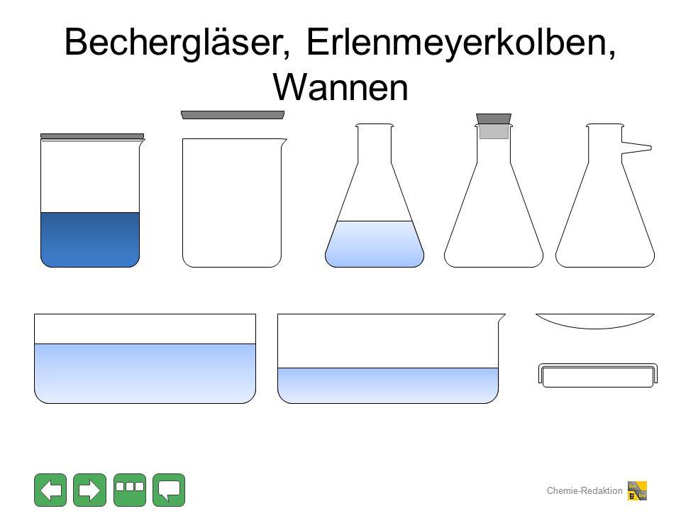 Chemie-Redaktion Bechergläser, Erlenmeyerkolben, Wannen