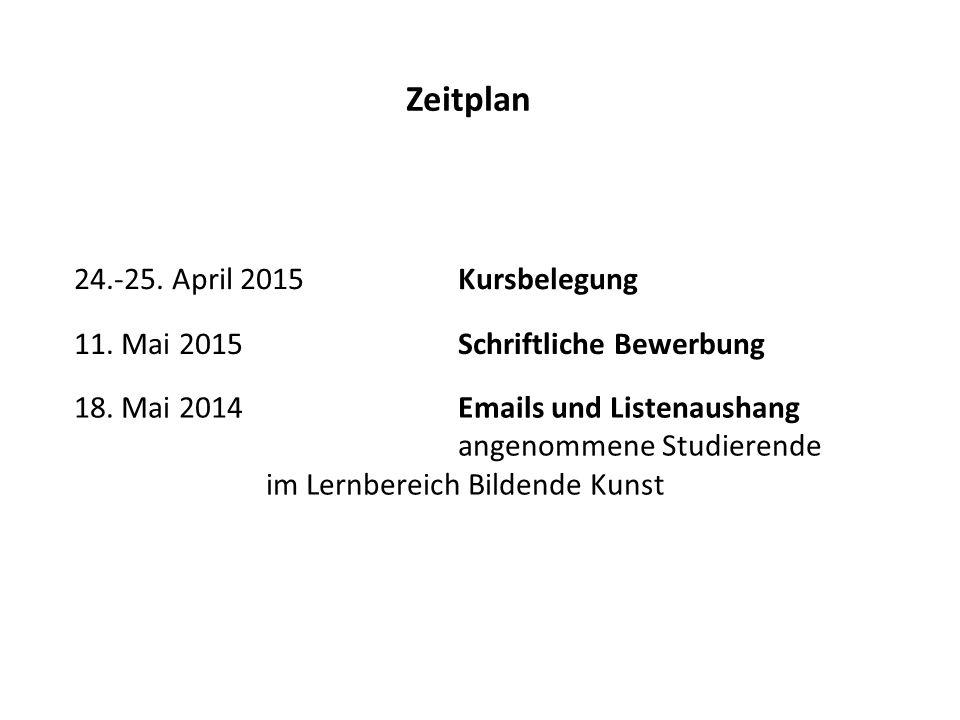 18. Mai 2014Emails und Listenaushang angenommene Studierende im Lernbereich Bildende Kunst 11. Mai 2015 Schriftliche Bewerbung Zeitplan 24.-25. April