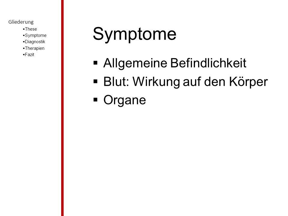 Symptome  Allgemeine Befindlichkeit  Blut: Wirkung auf den Körper  Organe Gliederung  These  Symptome  Diagnostik  Therapien  Fazit