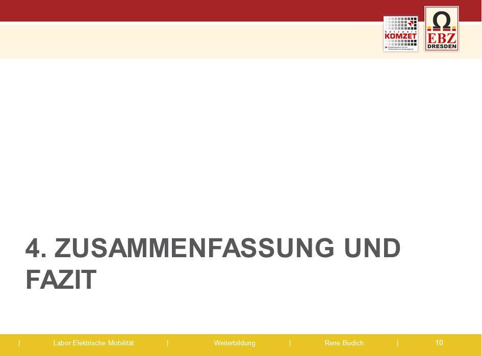 | Labor Elektrische Mobilität |Weiterbildung | Rene Budich | 4. ZUSAMMENFASSUNG UND FAZIT 10