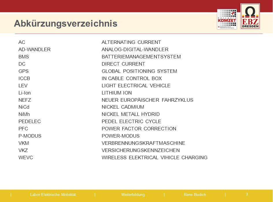 | Labor Elektrische Mobilität |Weiterbildung | Rene Budich | Abkürzungsverzeichnis ACALTERNATING CURRENT AD-WANDLER ANALOG-DIGITAL-WANDLER BMS BATTERI