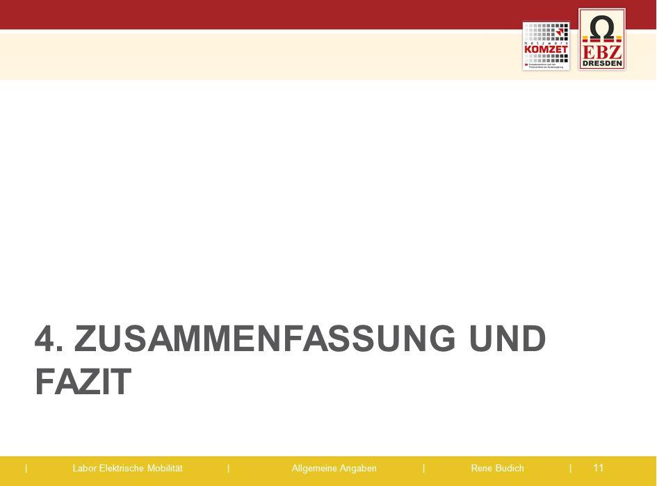 | Labor Elektrische Mobilität |Allgemeine Angaben | Rene Budich | 4. ZUSAMMENFASSUNG UND FAZIT 11