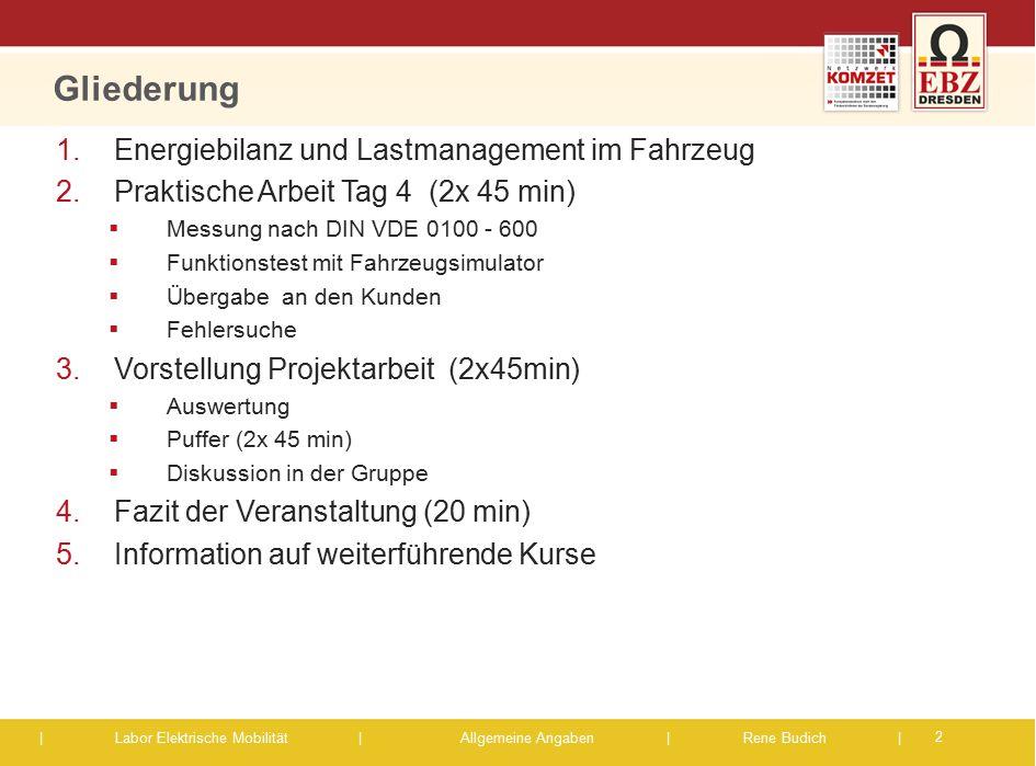 | Labor Elektrische Mobilität |Allgemeine Angaben | Rene Budich | Gliederung 2 1.Energiebilanz und Lastmanagement im Fahrzeug 2.Praktische Arbeit Tag