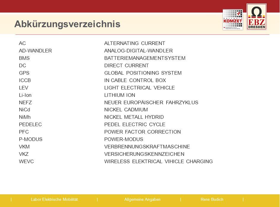 | Labor Elektrische Mobilität |Allgemeine Angaben | Rene Budich | Abkürzungsverzeichnis ACALTERNATING CURRENT AD-WANDLER ANALOG-DIGITAL-WANDLER BMS BA