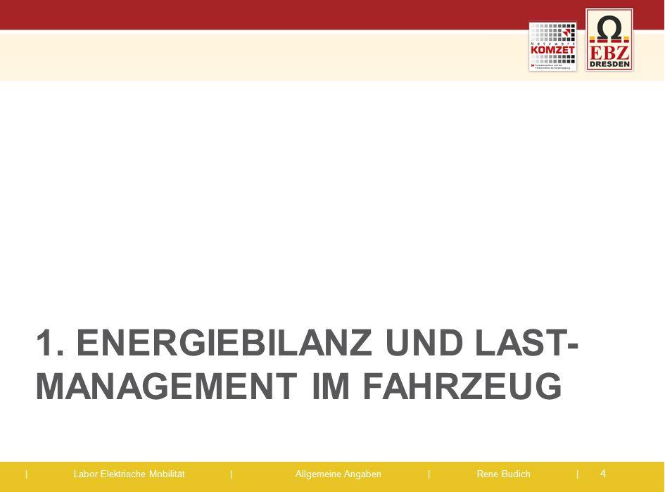 | Labor Elektrische Mobilität |Allgemeine Angaben | Rene Budich | 1. ENERGIEBILANZ UND LAST- MANAGEMENT IM FAHRZEUG 4