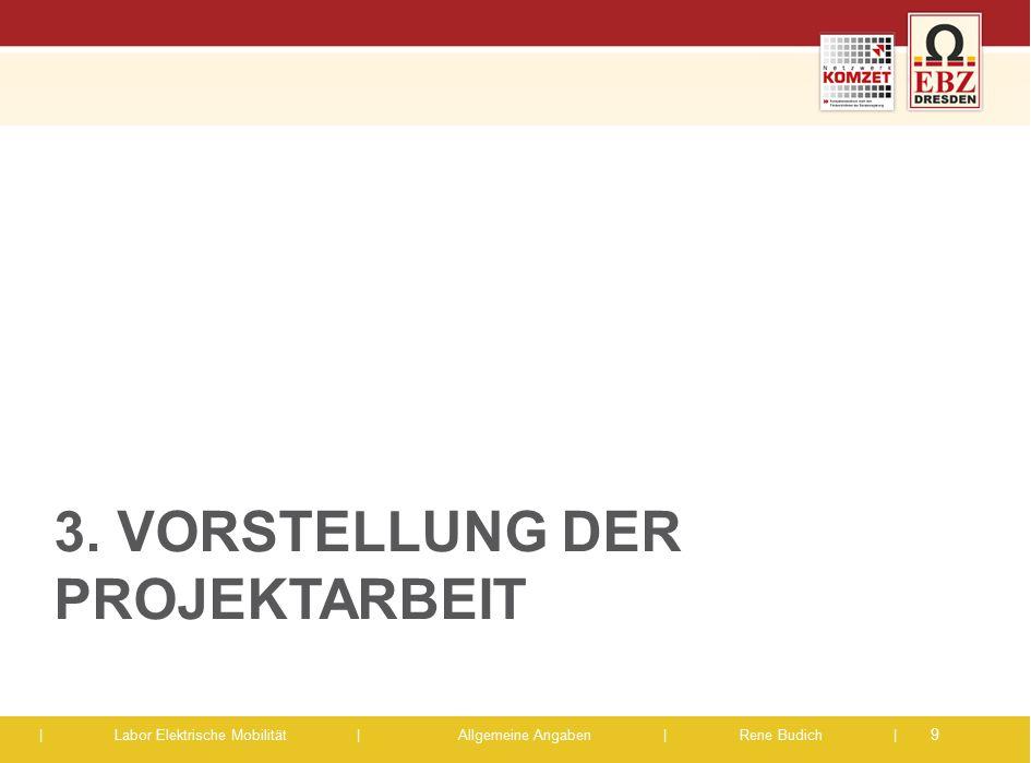 | Labor Elektrische Mobilität |Allgemeine Angaben | Rene Budich | 3. VORSTELLUNG DER PROJEKTARBEIT 9