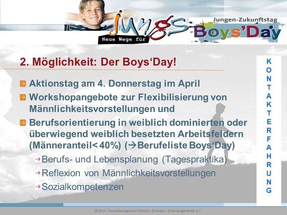 2. Möglichkeit: Der Boys'Day. Aktionstag am 4.