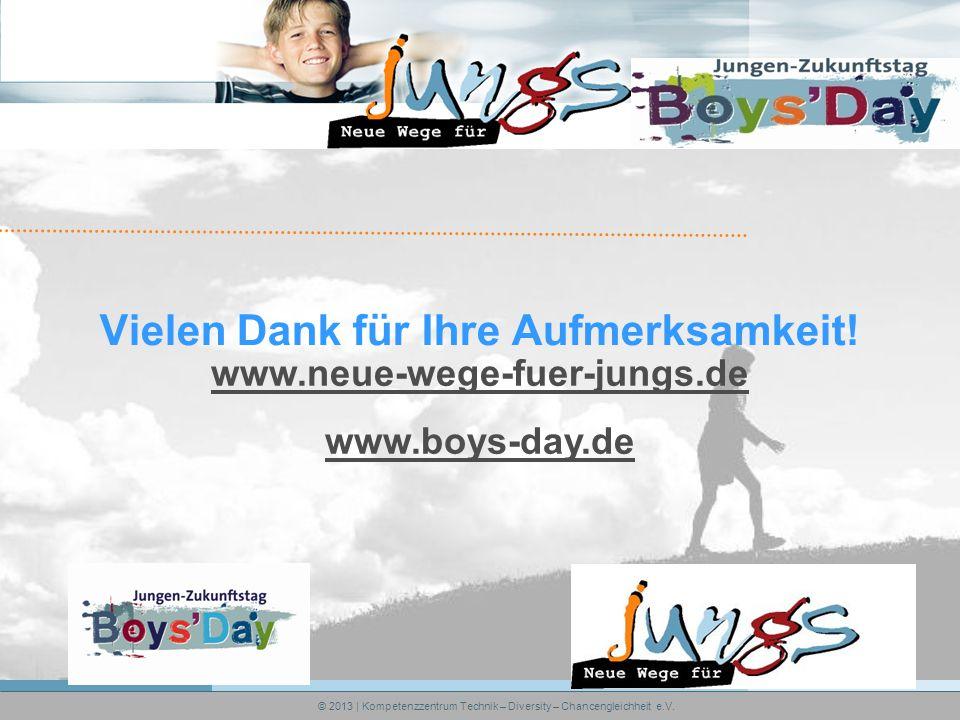 Vielen Dank für Ihre Aufmerksamkeit! www.neue-wege-fuer-jungs.de www.boys-day.de