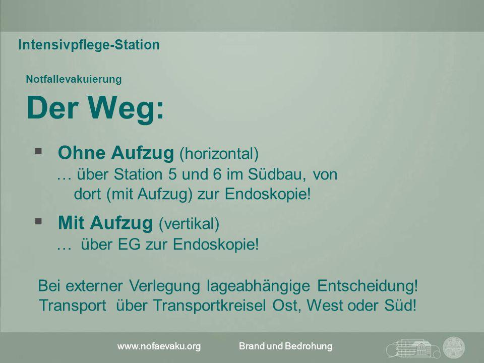www.nofaevaku.orgBrand und Bedrohung Notfallevakuierung Der Weg:  Ohne Aufzug (horizontal) … über Station 5 und 6 im Südbau, von dort (mit Aufzug) zu