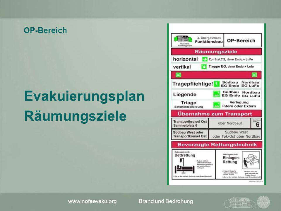 www.nofaevaku.orgBrand und Bedrohung Notfallevakuierung Der Weg:  Ohne Aufzug (horizontal) … über Station 7 und 8 im Südbau, von dort (mit Aufzug) zur LuFu*) Nordbau.