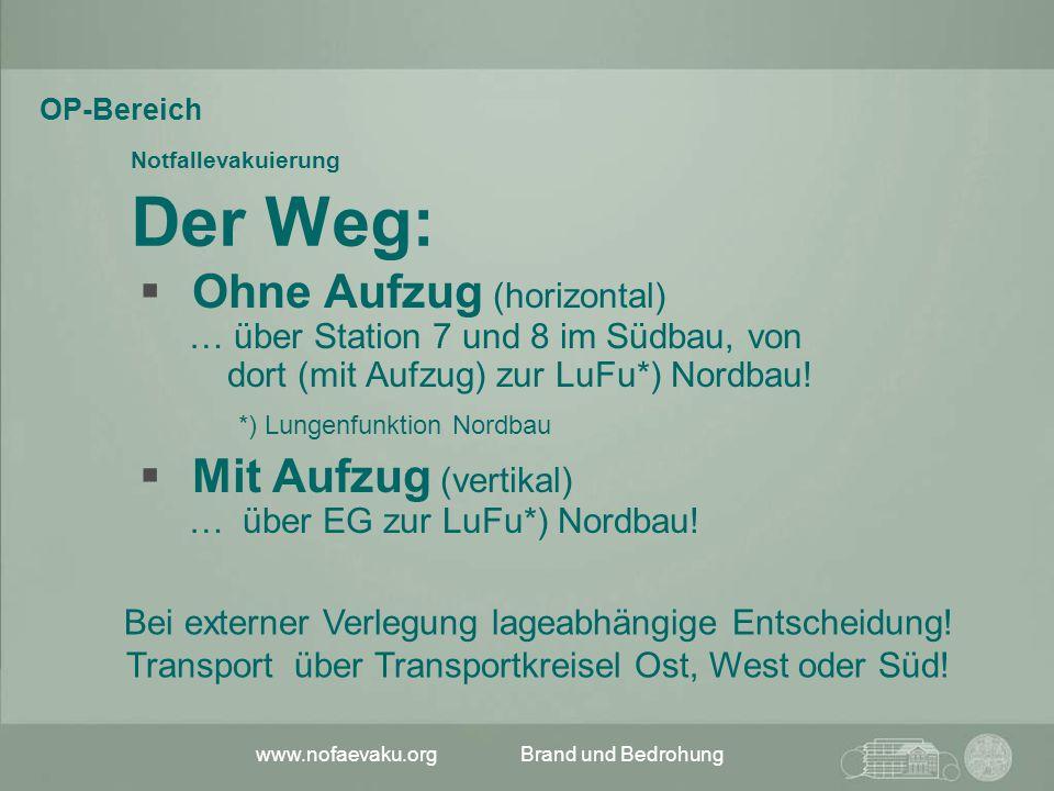 www.nofaevaku.orgBrand und Bedrohung Notfallevakuierung Der Weg:  Ohne Aufzug (horizontal) … über Station 7 und 8 im Südbau, von dort (mit Aufzug) zu