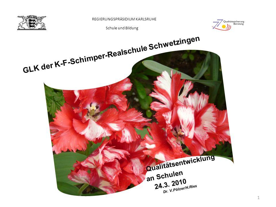 GLK der K-F-Schimper-Realschule Schwetzingen Qualitätsentwicklung an Schulen 24.3. 2010 Dr. V.Pölzer/H.Ries REGIERUNGSPRÄSIDIUM KARLSRUHE Schule und B