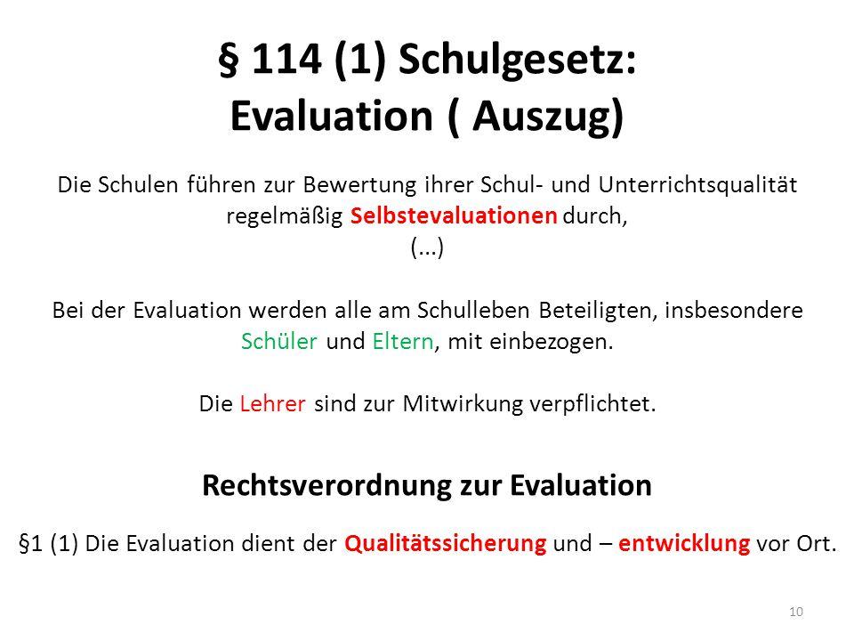 § 114 (1) Schulgesetz: Evaluation ( Auszug) Die Schulen führen zur Bewertung ihrer Schul- und Unterrichtsqualität regelmäßig Selbstevaluationen durch,