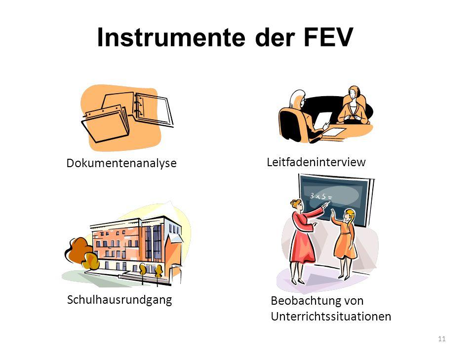 11 Instrumente der FEV Dokumentenanalyse Leitfadeninterview Beobachtung von Unterrichtssituationen Schulhausrundgang