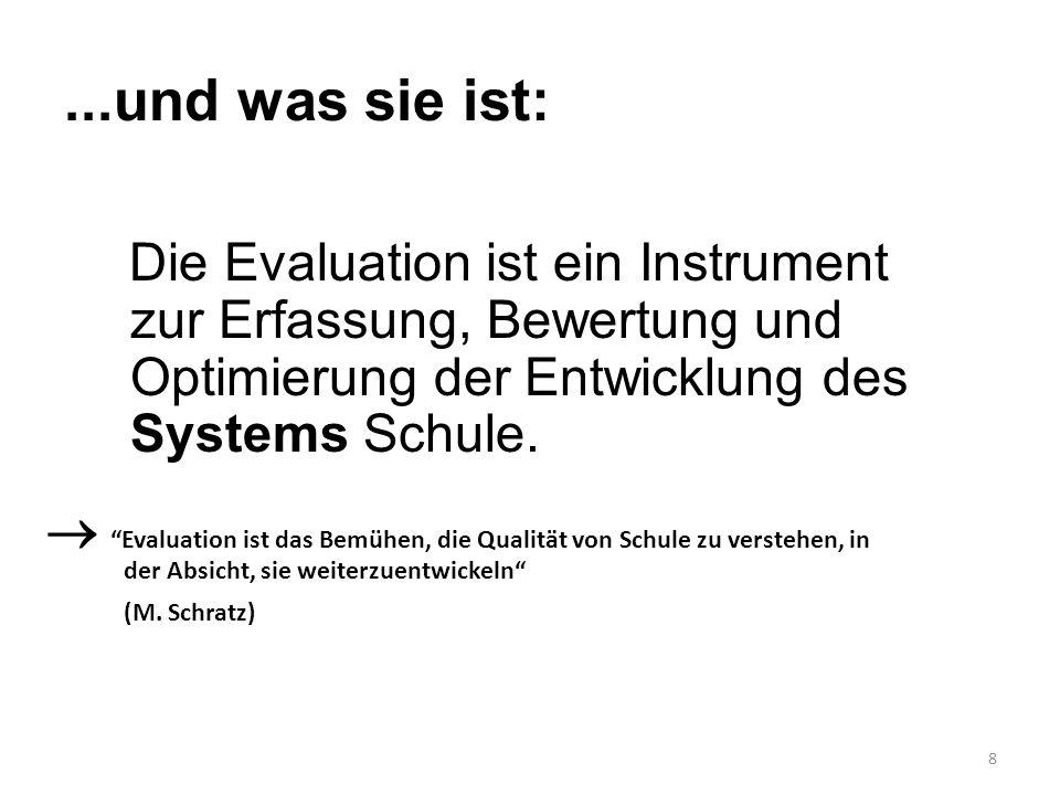 """8...und was sie ist: Die Evaluation ist ein Instrument zur Erfassung, Bewertung und Optimierung der Entwicklung des Systems Schule.  """"Evaluation ist"""