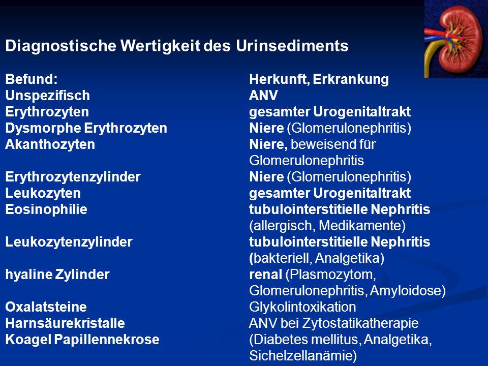 Diagnostische Wertigkeit des Urinsediments Befund:Herkunft, Erkrankung UnspezifischANV Erythrozytengesamter Urogenitaltrakt Dysmorphe ErythrozytenNiere (Glomerulonephritis) AkanthozytenNiere, beweisend für Glomerulonephritis ErythrozytenzylinderNiere (Glomerulonephritis) Leukozytengesamter Urogenitaltrakt Eosinophilietubulointerstitielle Nephritis (allergisch, Medikamente) Leukozytenzylindertubulointerstitielle Nephritis (bakteriell, Analgetika) hyaline Zylinderrenal (Plasmozytom, Glomerulonephritis, Amyloidose) OxalatsteineGlykolintoxikation HarnsäurekristalleANV bei Zytostatikatherapie KoagelPapillennekrose (Diabetes mellitus, Analgetika, Sichelzellanämie)