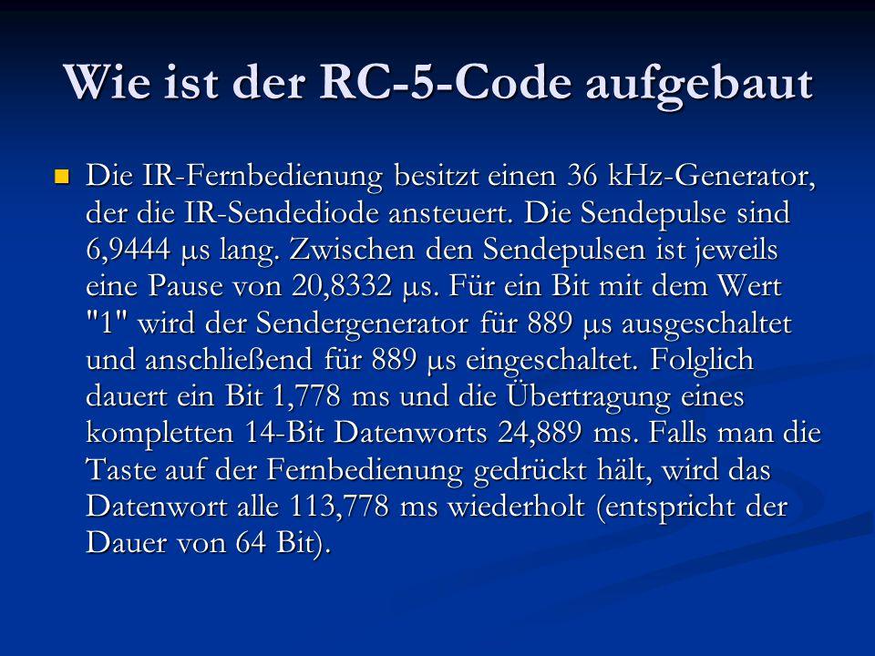 Die IR-Fernbedienung besitzt einen 36 kHz-Generator, der die IR-Sendediode ansteuert. Die Sendepulse sind 6,9444 µs lang. Zwischen den Sendepulsen ist