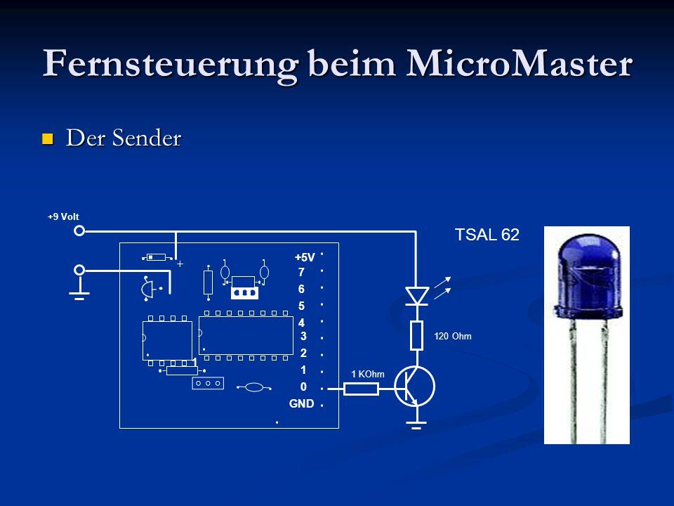 Fernsteuerung beim MicroMaster Der Sender Der Sender PIN X 7 6 5 4 3 2 1 0 1 +5V GND + +9 Volt 1 KOhm 120 Ohm TSAL 62