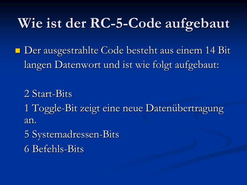 Wie ist der RC-5-Code aufgebaut Der ausgestrahlte Code besteht aus einem 14 Bit Der ausgestrahlte Code besteht aus einem 14 Bit langen Datenwort und i