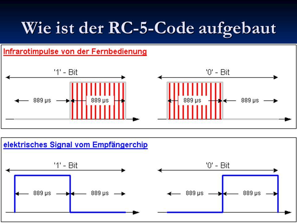 Die IR-Fernbedienung besitzt einen 36 kHz-Generator, der die IR-Sendediode ansteuert.
