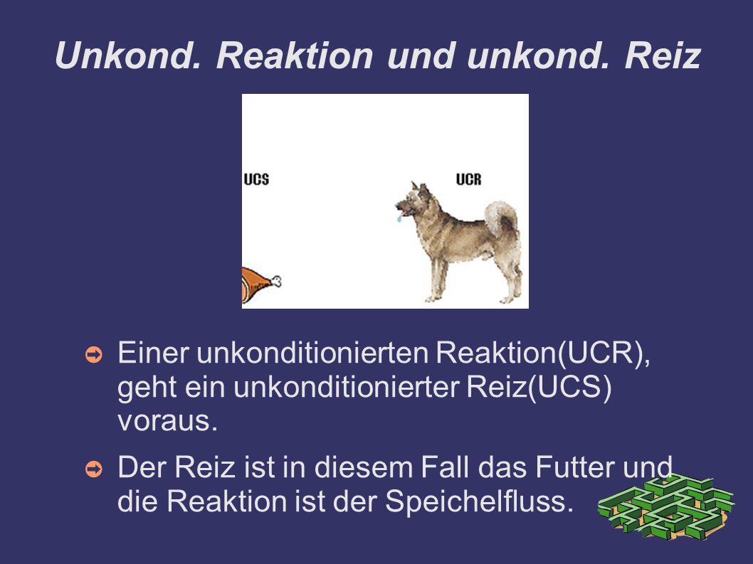 Unkond. Reaktion und unkond. Reiz ➲ Einer unkonditionierten Reaktion(UCR), geht ein unkonditionierter Reiz(UCS) voraus. ➲ Der Reiz ist in diesem Fall