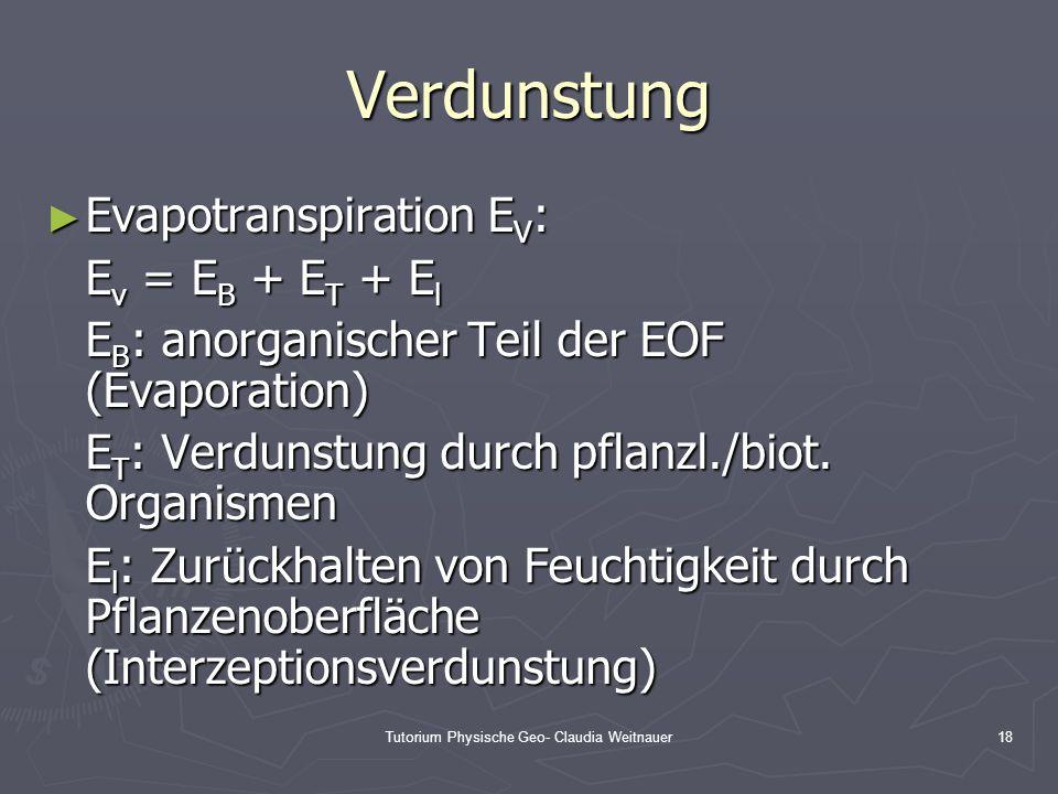 Tutorium Physische Geo- Claudia Weitnauer18 Verdunstung ► Evapotranspiration E V : E v = E B + E T + E l E B : anorganischer Teil der EOF (Evaporation
