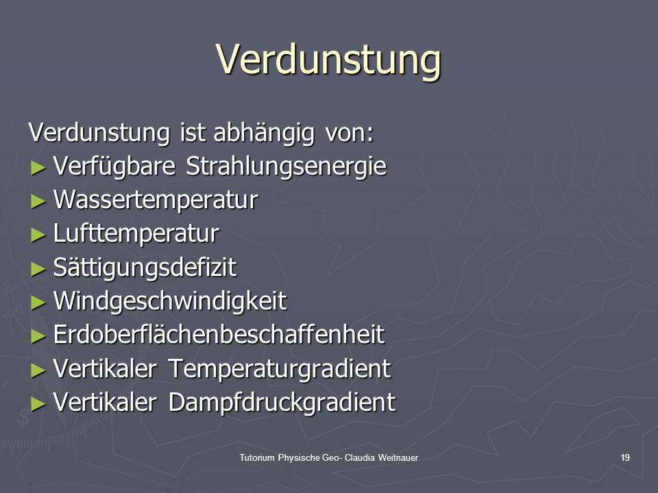 Tutorium Physische Geo- Claudia Weitnauer19 Verdunstung Verdunstung ist abhängig von: ► Verfügbare Strahlungsenergie ► Wassertemperatur ► Lufttemperat