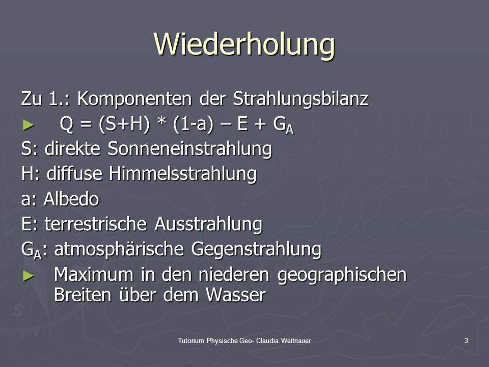Tutorium Physische Geo- Claudia Weitnauer3 Wiederholung Zu 1.: Komponenten der Strahlungsbilanz ► Q = (S+H) * (1-a) – E + G A S: direkte Sonneneinstra