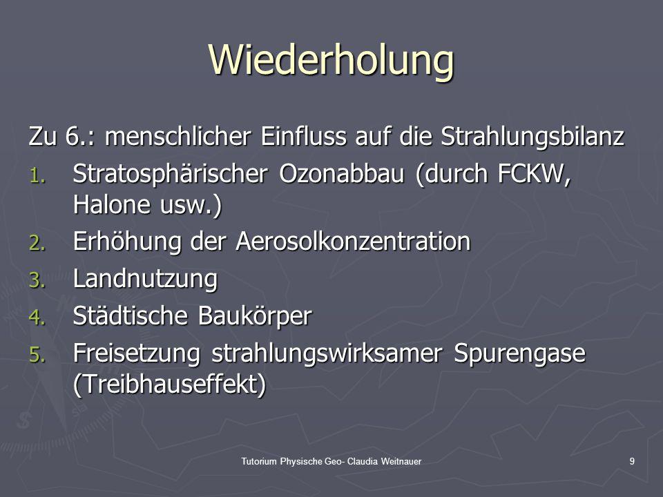 Tutorium Physische Geo- Claudia Weitnauer9 Wiederholung Zu 6.: menschlicher Einfluss auf die Strahlungsbilanz 1. Stratosphärischer Ozonabbau (durch FC