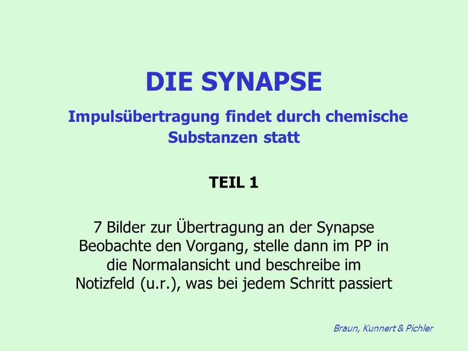 Braun, Kunnert & Pichler DIE SYNAPSE Impulsübertragung findet durch chemische Substanzen statt TEIL 1 7 Bilder zur Übertragung an der Synapse Beobacht
