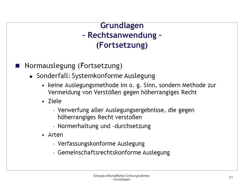 Energiewirtschaftlicher Ordnungsrahmen - Grundlagen - 21 Grundlagen - Rechtsanwendung – (Fortsetzung) Normauslegung (Fortsetzung) Sonderfall: Systemkonforme Auslegung keine Auslegungsmethode im o.