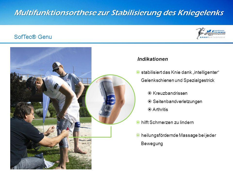 """Multifunktionsorthese zur Stabilisierung des Kniegelenks SofTec® Genu Indikationen  stabilisiert das Knie dank """"intelligenter"""" Gelenkschienen und Spe"""
