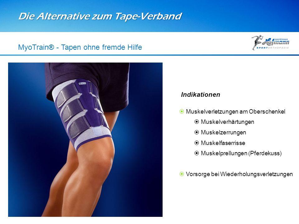 Die Alternative zum Tape-Verband MyoTrain® - Tapen ohne fremde Hilfe Indikationen  Muskelverletzungen am Oberschenkel  Muskelverhärtungen  Muskelze