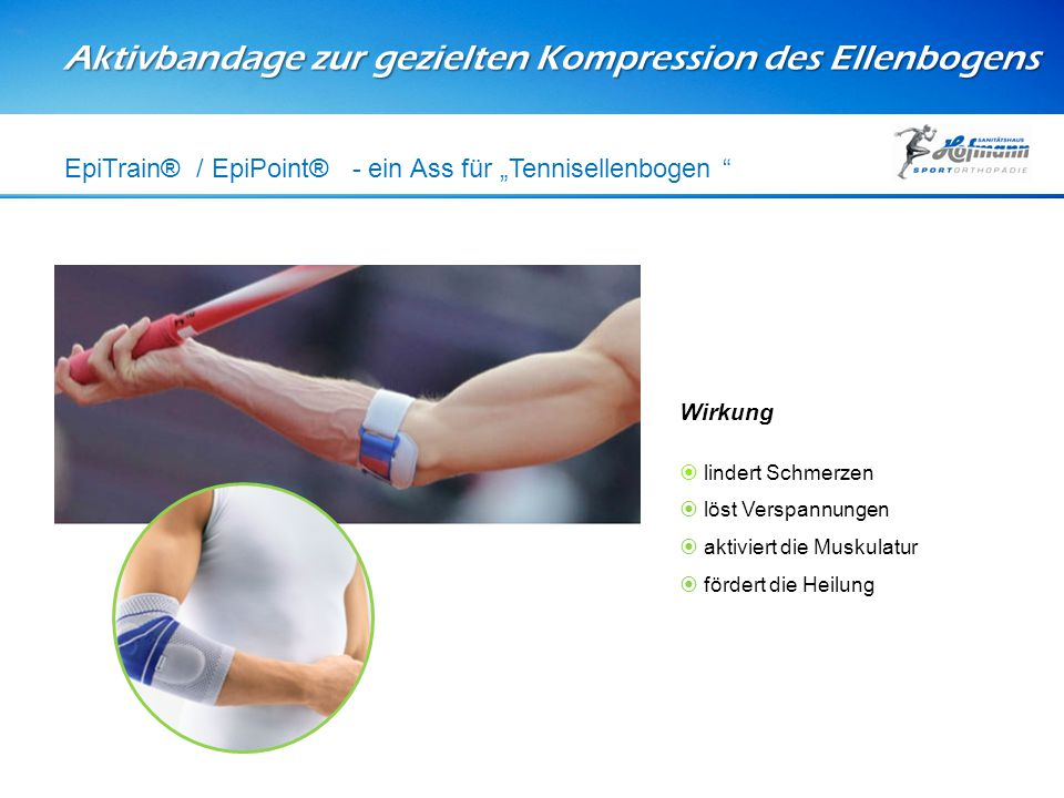 """Aktivbandage zur gezielten Kompression des Ellenbogens EpiTrain® / EpiPoint® - ein Ass für """"Tennisellenbogen """" Wirkung  lindert Schmerzen  löst Vers"""