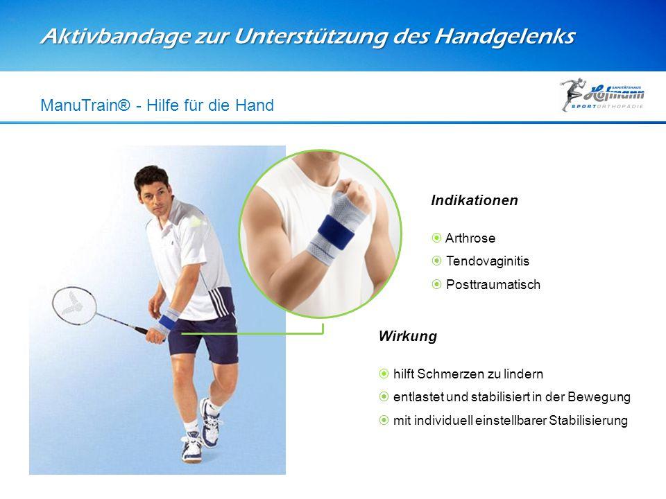 Aktivbandage zur Unterstützung des Handgelenks ManuTrain® - Hilfe für die Hand Wirkung  hilft Schmerzen zu lindern  entlastet und stabilisiert in de