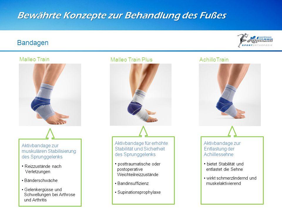 Bewährte Konzepte zur Behandlung des Fußes Bandagen Aktivbandage zur muskulären Stabilisierung des Sprunggelenks Reizzustände nach Verletzungen Bänder