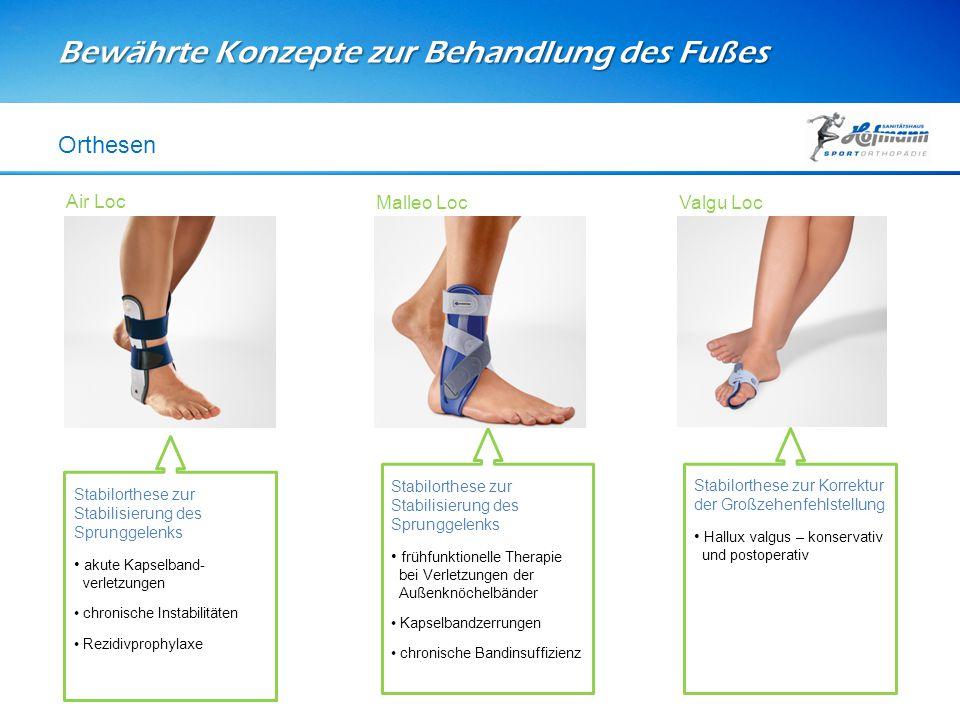 Bewährte Konzepte zur Behandlung des Fußes Orthesen Stabilorthese zur Stabilisierung des Sprunggelenks akute Kapselband- verletzungen chronische Insta