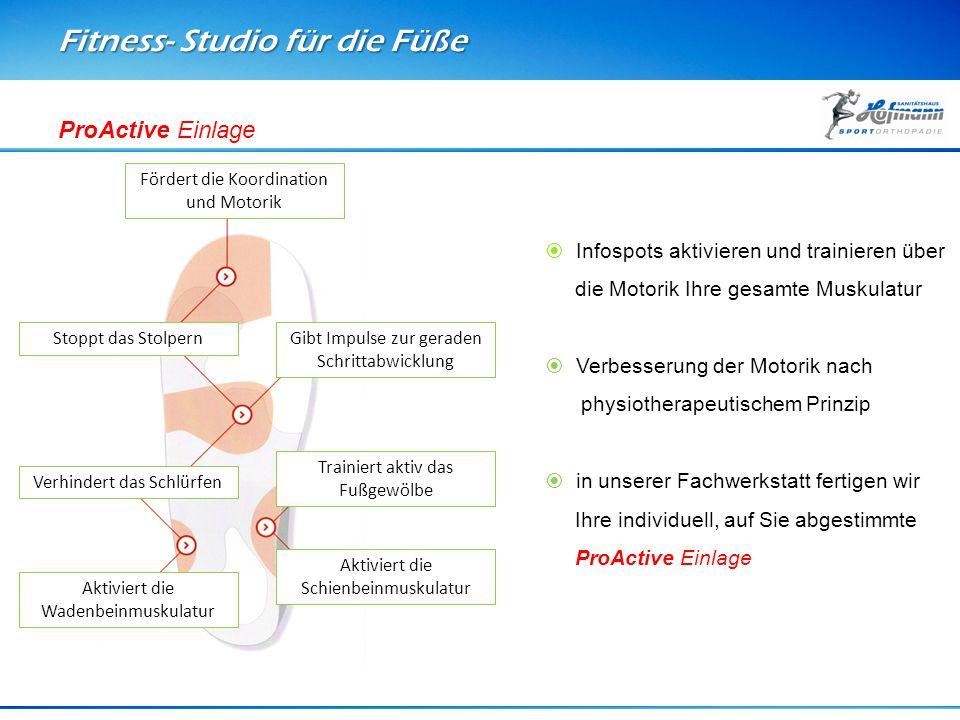 Fitness- Studio für die Füße ProActive Einlage Fördert die Koordination und Motorik Gibt Impulse zur geraden Schrittabwicklung Trainiert aktiv das Fuß