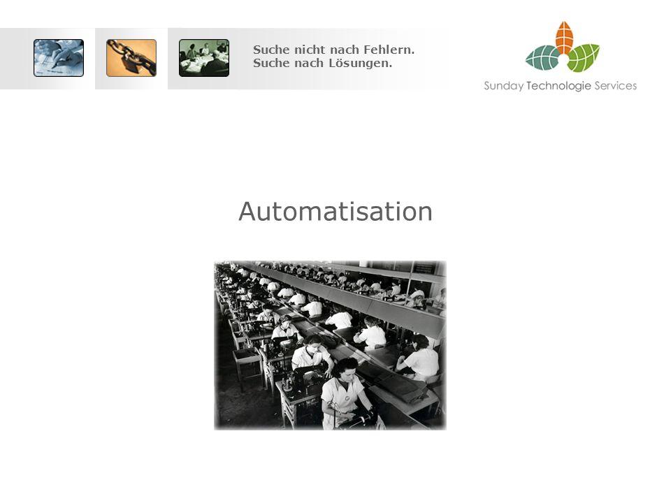 Suche nicht nach Fehlern. Suche nach Lösungen. Automatisation