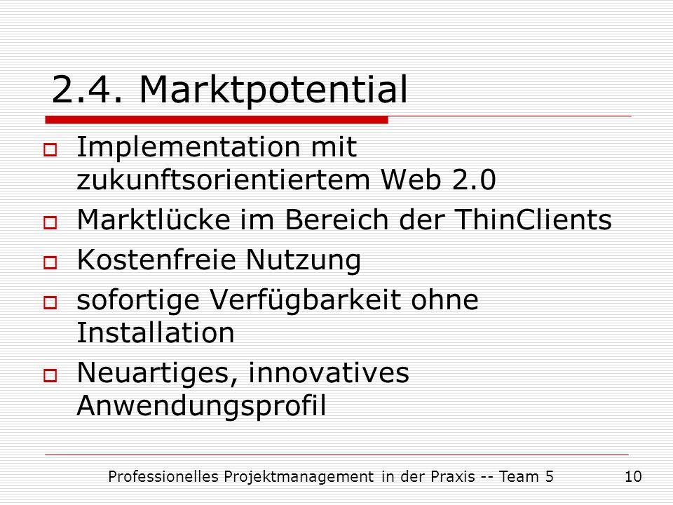 Professionelles Projektmanagement in der Praxis -- Team 510 2.4. Marktpotential  Implementation mit zukunftsorientiertem Web 2.0  Marktlücke im Bere