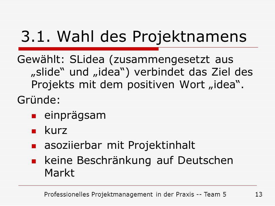 """Professionelles Projektmanagement in der Praxis -- Team 513 3.1. Wahl des Projektnamens Gewählt: SLidea (zusammengesetzt aus """"slide"""" und """"idea"""") verbi"""